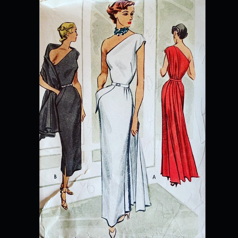 Glam One Shoulder Vintage 40s Watteau Drape Evening Gown image 0