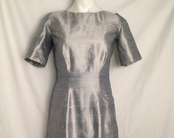 Silver Grey Silk Dupioni Sheath Dress