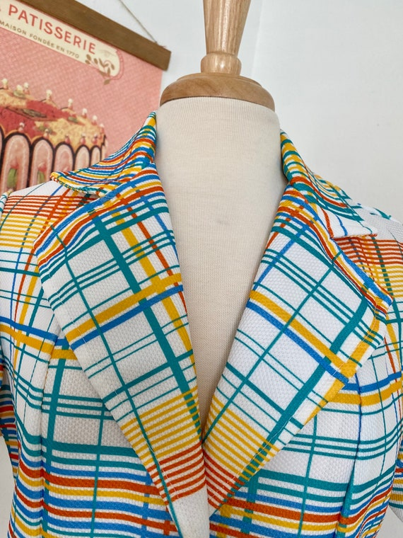 1970s Rainbow Plaid Button Up - image 3