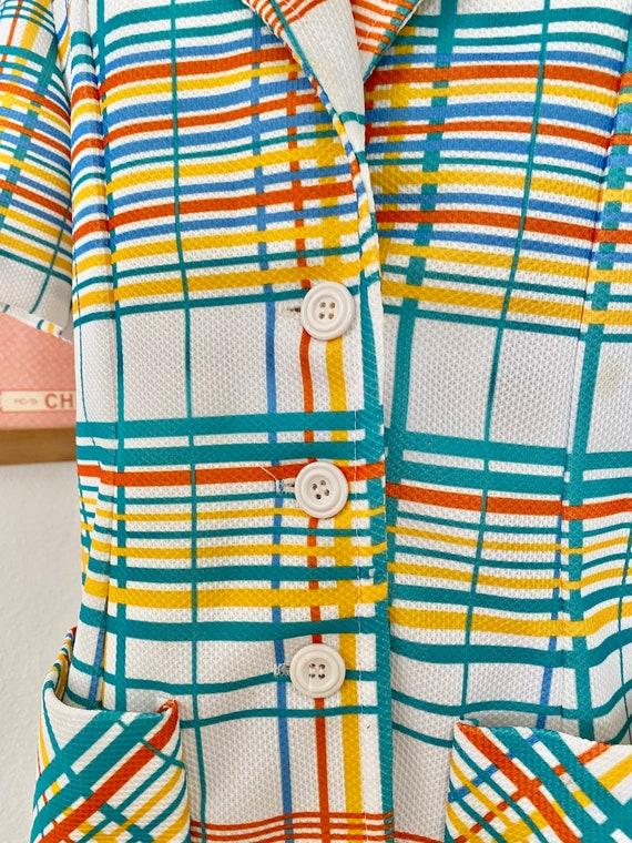 1970s Rainbow Plaid Button Up - image 6