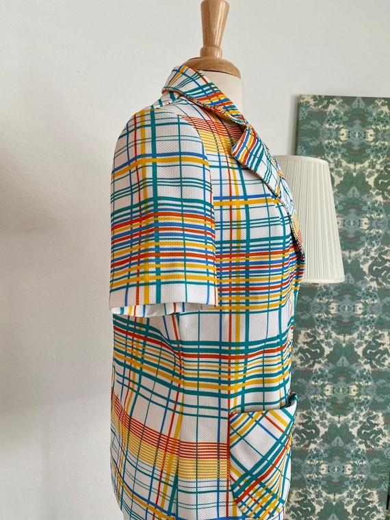 1970s Rainbow Plaid Button Up - image 4