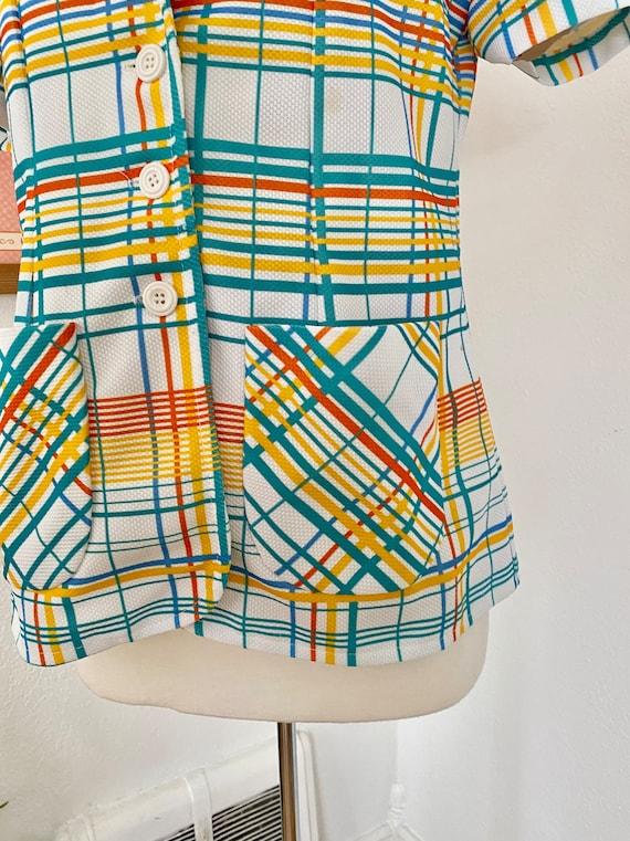 1970s Rainbow Plaid Button Up - image 5