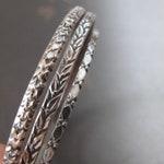 vintage patterned wire sterling silver bangles - bangle bracelet