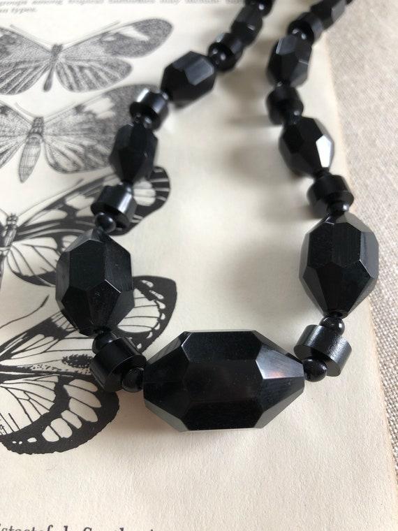 Black Bakelite Beaded Necklace - faceted vintage b