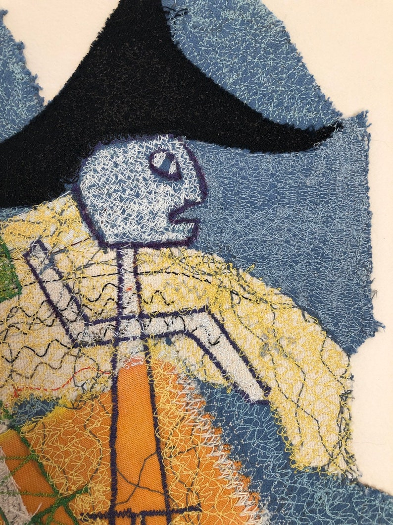 1960s 1970s fabric art collage by architect and modernist Robert Vale Faro Vintage free motion sewing art