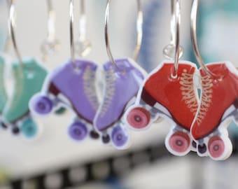 Retro Roller Skate Earrings - cute roller derby earrings - skates dangles - choose your color