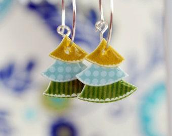 Christmas Tree Earrings, Winter holiday earrings