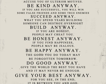 Be kind anyway etsy gift ideas for him or her mother teresa do it anyway distressed worn paper look stock art print 16x20 no frame included geezees altavistaventures Gallery