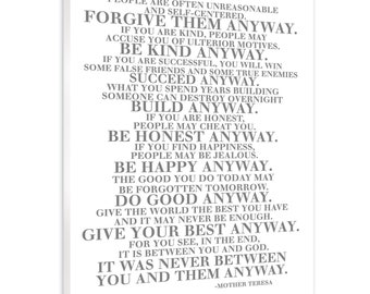 picture regarding Mother Teresa Do It Anyway Free Printable identified as Be variety in any case Etsy