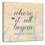 Holiday Gift Gift For Couples Where it all began custom map art, Personalized Couple, Wedding Anniversary Gift Romantic Map with Quote Art