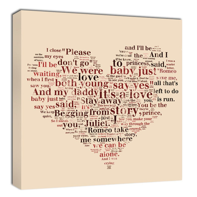 Holiday Gift Heart Shaped Words or other shapes word art Lyrics Collage on  canvas or shape of moon, 14x14 Geezees