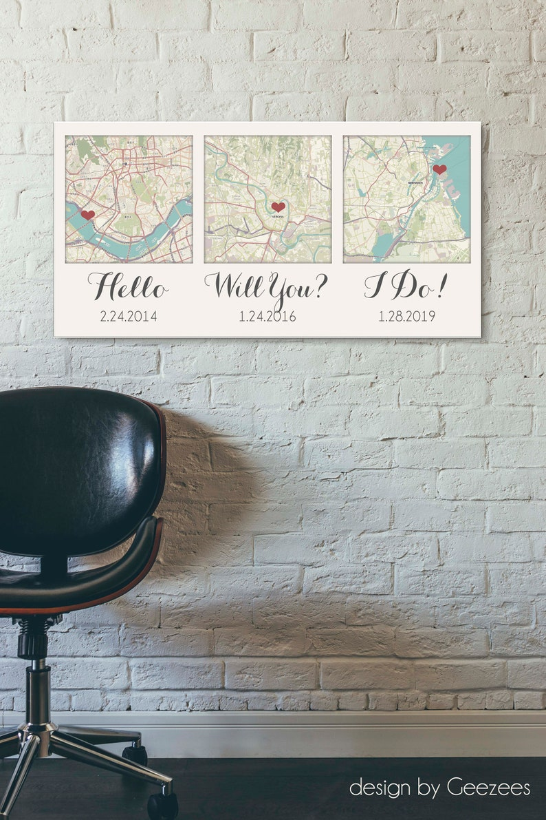 Valentines Gift ideas for Him 3 Map Canvas  Personalized image 0
