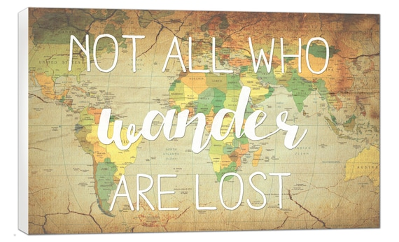 Stock vintage world map not all who wander are lost map canvas etsy image 0 gumiabroncs Choice Image