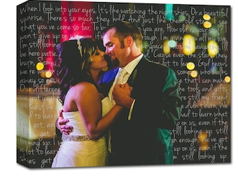 Holiday Gift Ideas for Her Cotton Anniversary Gift, Canvas Photo  first Dance and Wedding Vows Wall Art, Personalized Couple Gift