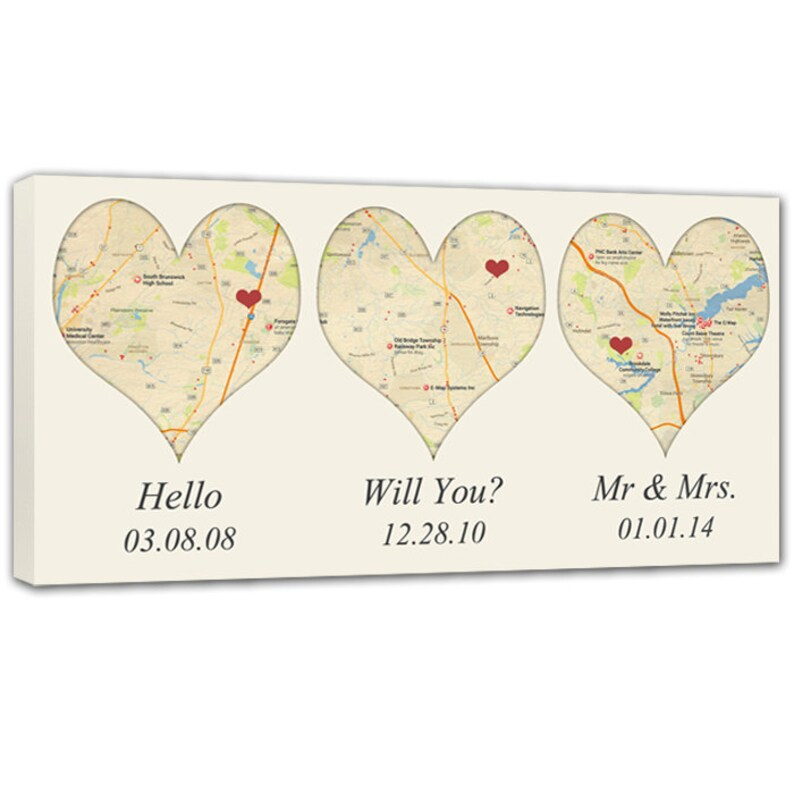 Heart Map Your Special Place  Map Canvas THREE city locations image 0