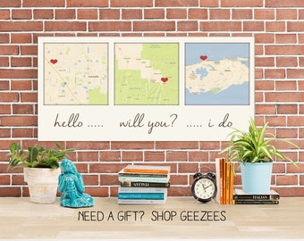 Gift ideas for Him 3 Map Canvas Personalized Couple Gift Custom Map Art using Three Location Wedding  Cotton Anniversary Present
