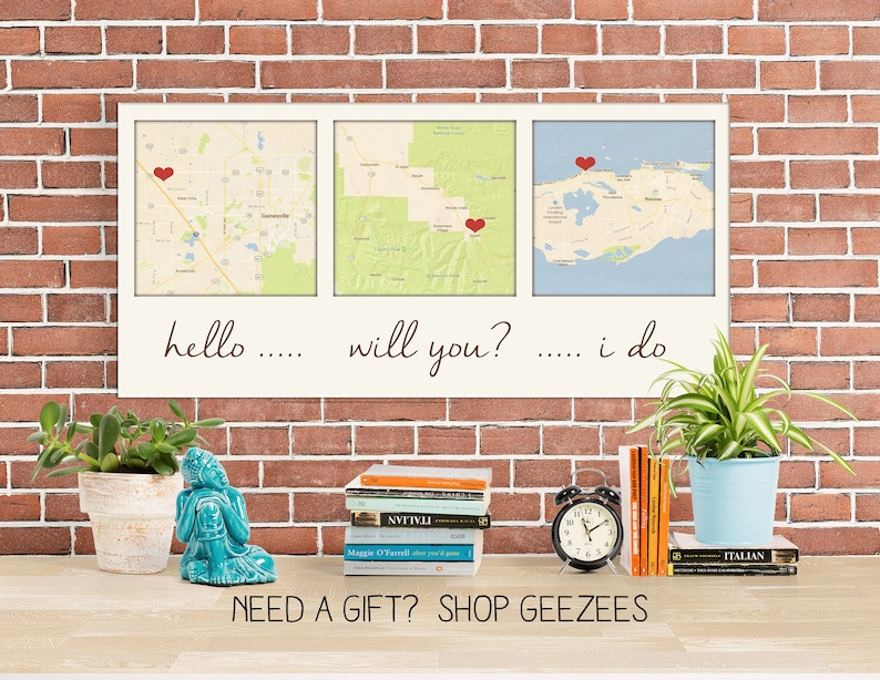 Holiday GiftGift ideas for Him 3 Map Canvas Personalized image 0