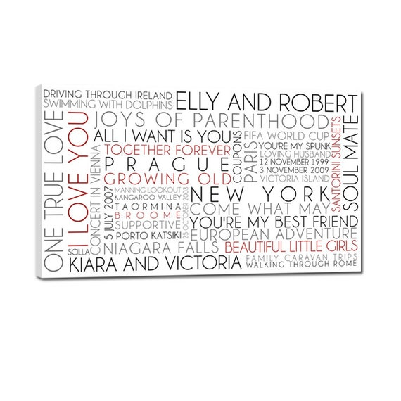 personalized family name signs elite word art canvas art personalized words and phrases wall art 16x48 from geezeescustomcanvas on etsy studio