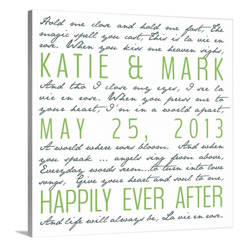 Holiday Gift Second Cotton Anniversary Gift, Wedding Vows on Canvas, For  Him, For Her Word Art 10X10