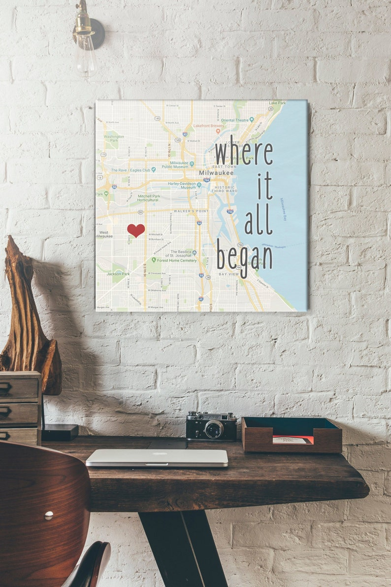 Custom Map Gift Where it began Romantic Holiday Gifts Map Art image 0