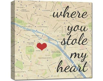 Stole my heart Canvas Map Art Where it all began custom map, 8x8 inch  Personalized Couple, Wedding Anniversary Gift For him, Gift for her