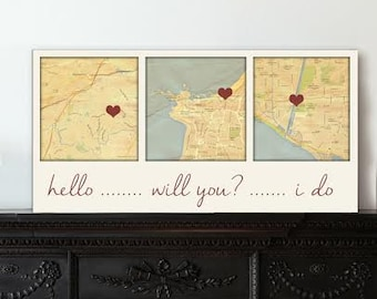 Gift ideas for Him 3 Map Canvas  Personalized Couple Gift Custom Map Art using Three Location Wedding Wall Decor, Anniversary Present