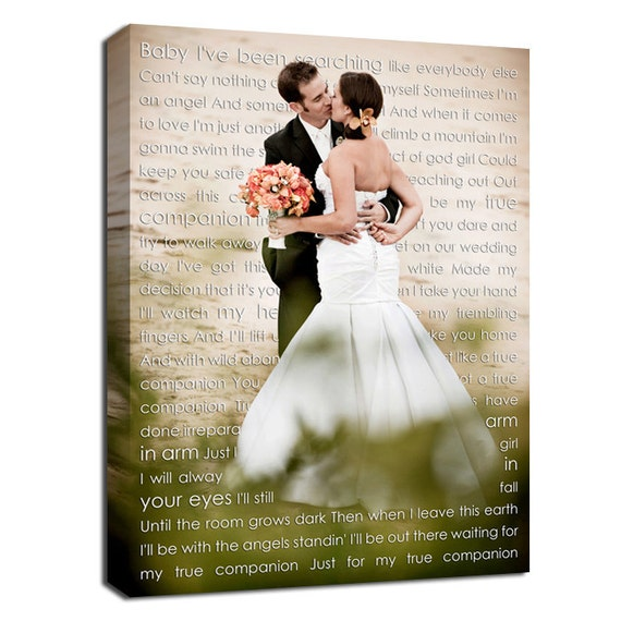 wedding sign canvas art personalized your photo and words etsy