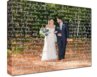 Cotton Anniversary Gift for him or her  First Dance Lyrics/ Custom Canvas / Your Wedding Photo with your Lyrics/ Photo Gift ideas