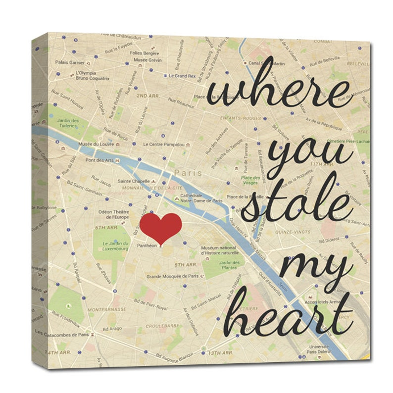 best gifts for spouse Where you stole my heart custom map art image 0