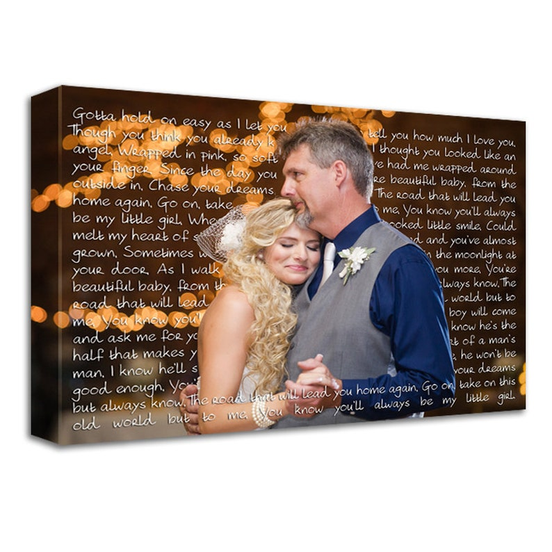 Gift For Dad  Daddys Girl  Photo and Word Art Canvas Gift for image 0