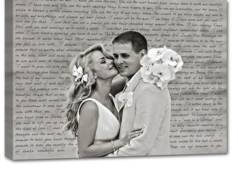 Anniversary Gift Wedding Gift First Dance Lyrics/ Custom Canvas / Your Wedding Photo with your Lyrics/ Vows/ Love Story