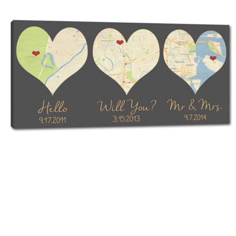 Gift Idea Heart Shaped Map Art YOUR Three locations Where We image 0
