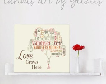 Gift for Mom or Dad - Family Tree Art - Custom Canvas for Birthdays, Anniversary, Housewarming, Family Quotes Art