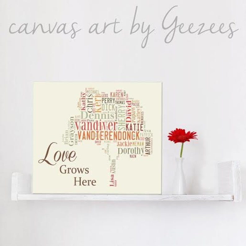 Holiday Gift Gift for Mom or Dad  Family Tree Art  Custom image 0
