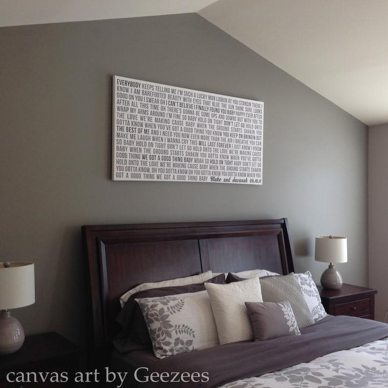 Canvas Word Art Faded Grays vows lyrics Above Bed custom image 0