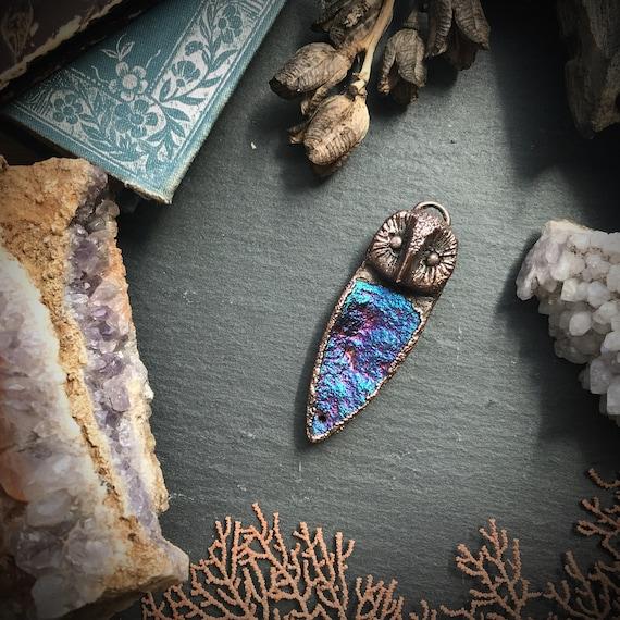 Owl and titanium coated druzy spirit animal totem copper electroformed pendant or necklace