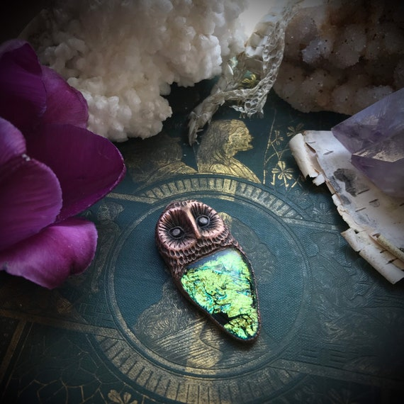 Owl and dichroic glass talisman amulet spirit animal totem copper electroformed pendant or necklace