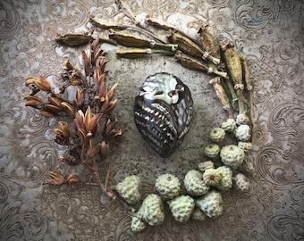 Ceramic owl focal art bead handmade sculpted carved spirit rattle spirit animal art jewelry finding bead pendant clay