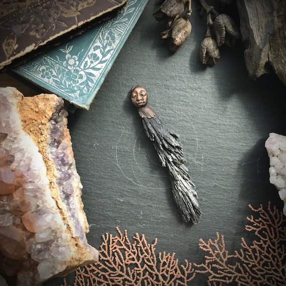Electroformed copper and black kyanite guardian owl guardian protective talisman amulet pendant or necklace