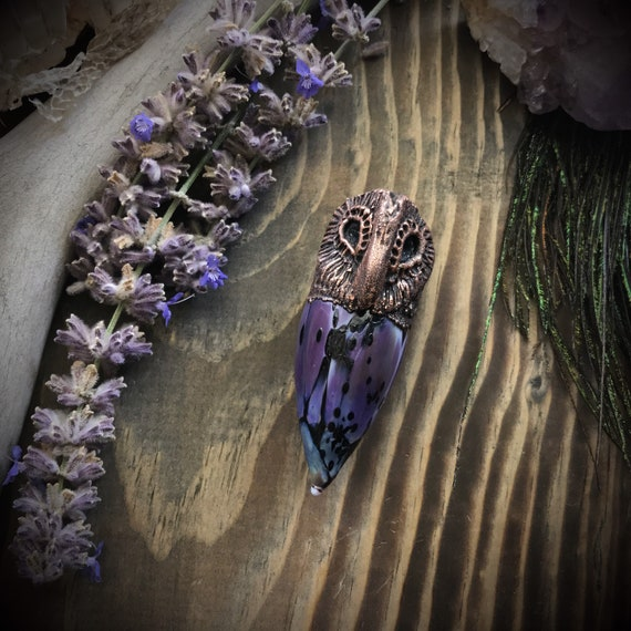 Owl Totem blown glass and copper electroformed talisman spirit animal amulet purple with tobasco geode druzy eyes