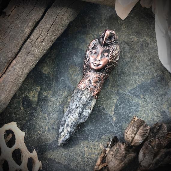 Owl goddess priestess shaman electroformed copper talisman amulet pendant or necklace raw kyanite crystal amulet talisman totem jewelry