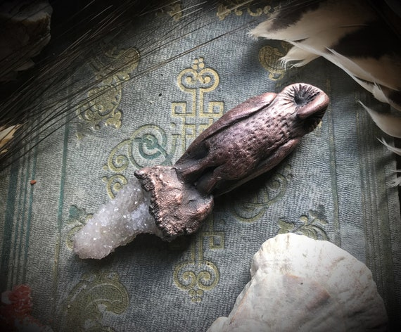 Copper owl electroformed druzy smokey lavender amethyst spirit quartz crystal handscultped art bead spirit animal totem pendant or necklace