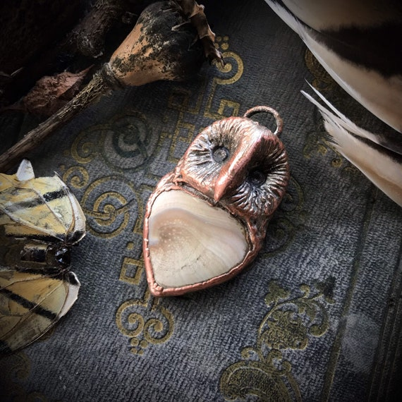 Copper owl electroformed shell spiral handscultped art bead pendant or necklace talisman amulet spirit animal totem inifinity pendant