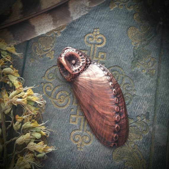 Owl  electroformed copper and abalone shell iridescent spirit totem talisman hand sculpted pendant amulet or necklace