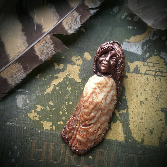 Harpy Copper bird goddess woman shell electroformed  handscultped art bead pendant or necklace