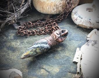 Blown glass owl goddess shamaness copper electroformed totem talisman spirit animal amulet pendant necklace