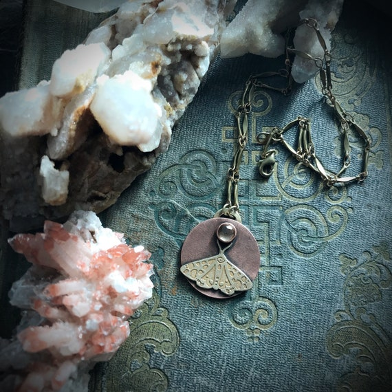 Owl totem and full moon necklace in copper with czech glass and etched metal on solid brass chain with lobster clasp