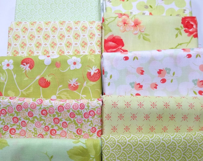 Fig Tree Chantilly Half Yard Green Colorway Bundle - 10 prints by Fig Tree and Co.