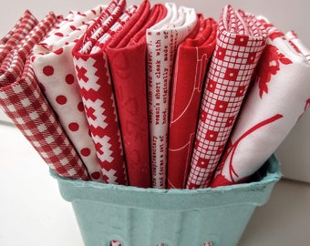 Stitches FQ Bundle - Red and White Fat Quarters - (8) FQs - Quilting Cotton Fabric - Fat Quarter Bundle - Red and White Fabric