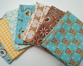 Howdy by Stacy Iest Hsu FQ bundle SALE - Boy Fabrics - 7 Fat Quarters - Cowboy Fabrics - Fat Quarter Bundle